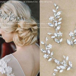 Bridal Hair Accessories - Hair Pin Crystal Leaves